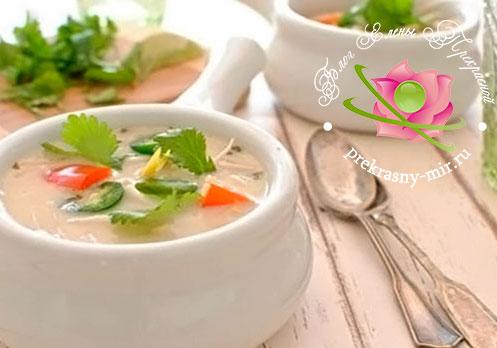 Рецепт супа из кокосового молока и морепродуктов
