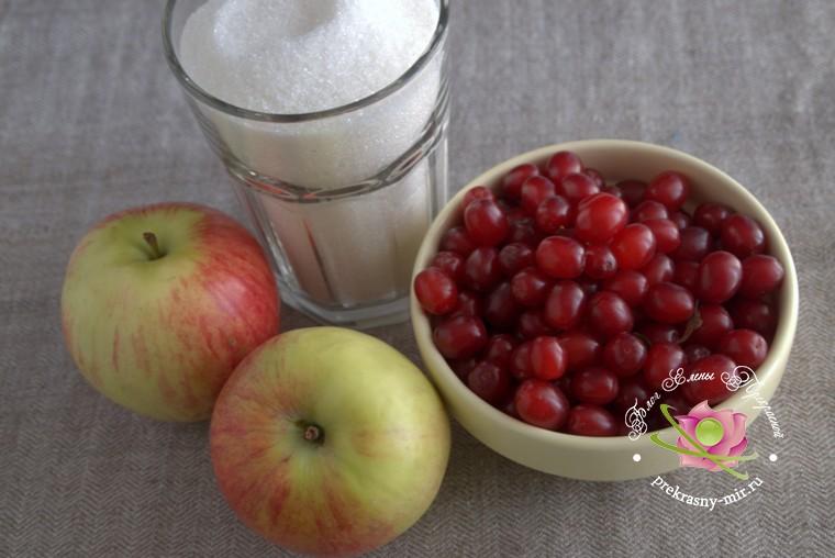 Варенье из кизила на зиму с яблоками: продукты