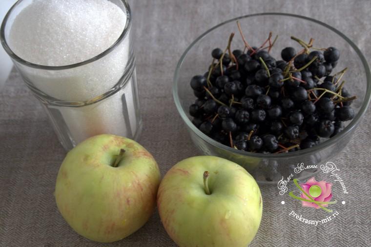 джем из яблок с черноплодной рябиной: продукты