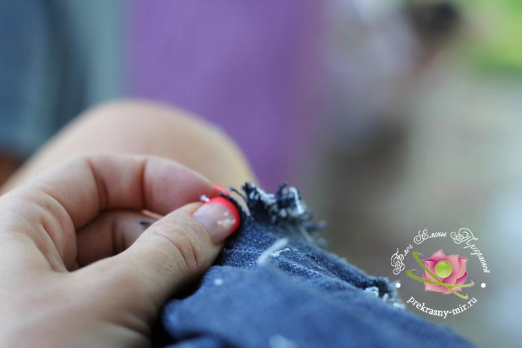 как сделать джинсовые шорты