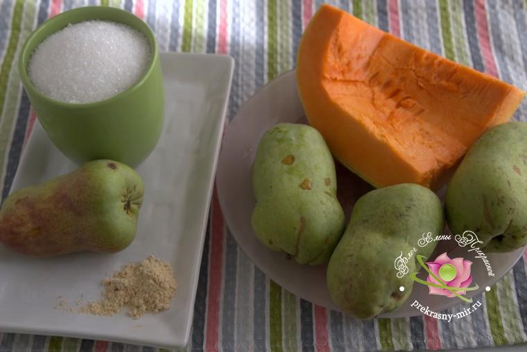 грушевый джем с тыквой и имбирем: продукты