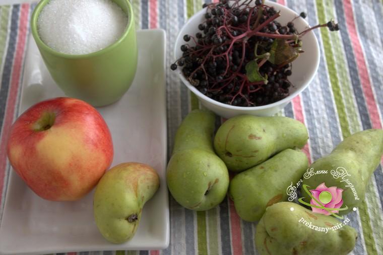 Повидло из груш, яблок и бузины на зиму: продукты