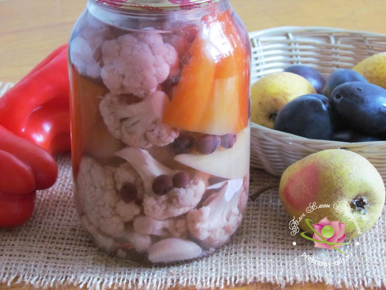 маринованная цветная капуста с перцем пошаговый фото рецепт