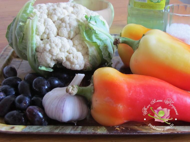 маринованная цветная капуста с перцем: продукты для рецепта