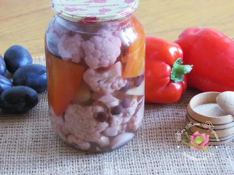 маринованная цветная капуста с перцем рецепт в домашних условиях