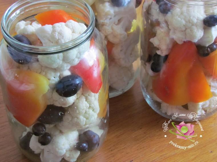маринованная цветная капуста с перцем рецепт с фото