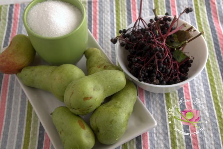 варенье из груш и бузины: продукты для приготовления