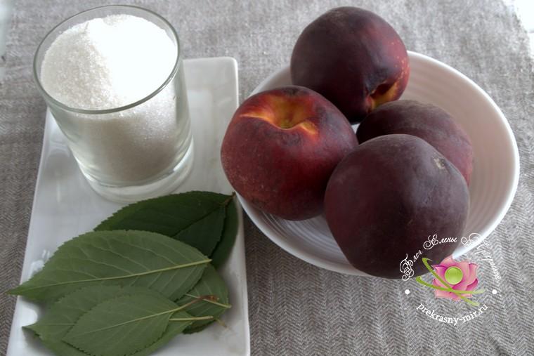 Персиковое варенье с листьями вишни: продукты