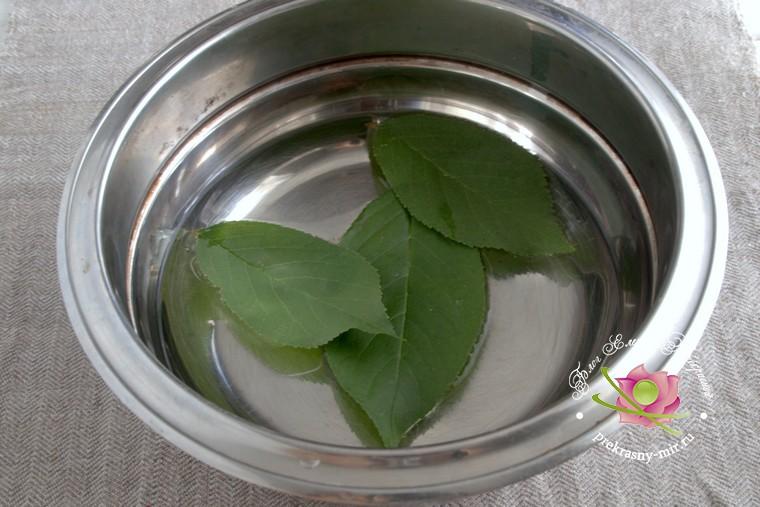 персиковое варенье с листьями вишни