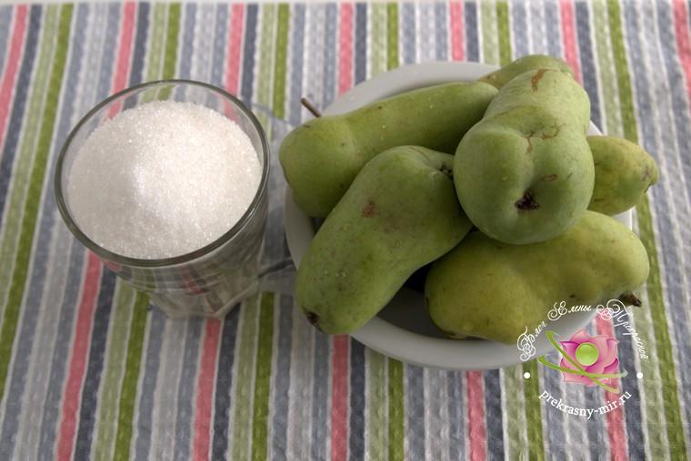 рецепт сухого грушевого варенья: продукты