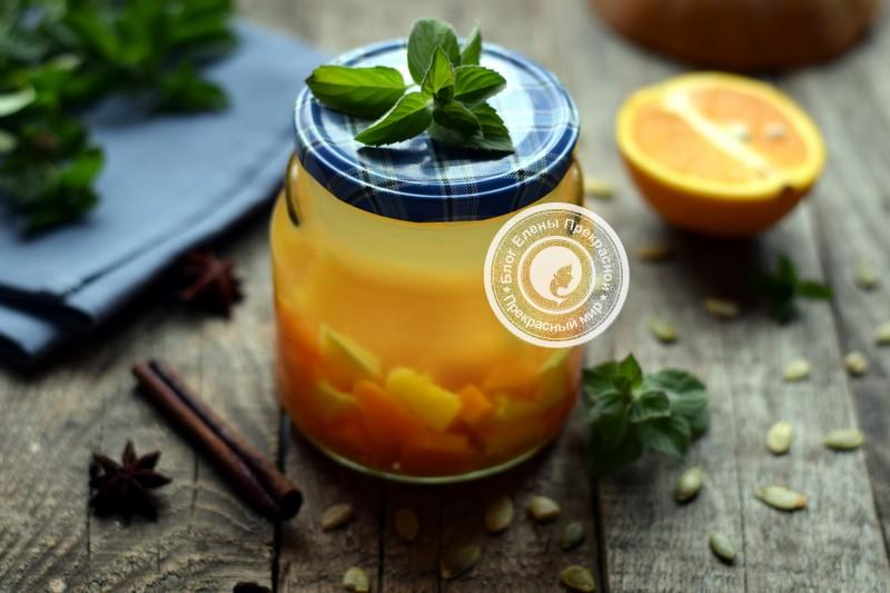 6 компот из тыквы с апельсином и персиком.