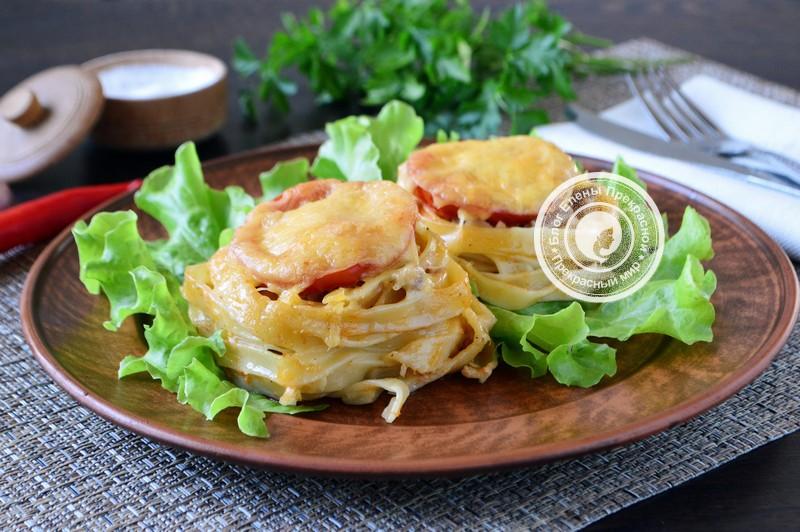 гнезда из макарон с фаршем в духовке рецепт на праздничный стол