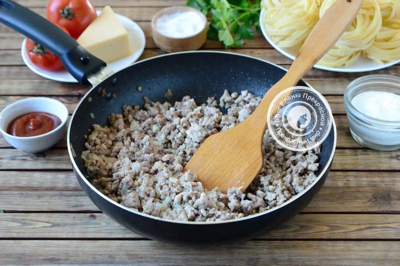 гнезда из макарон с фаршем в духовке рецепт