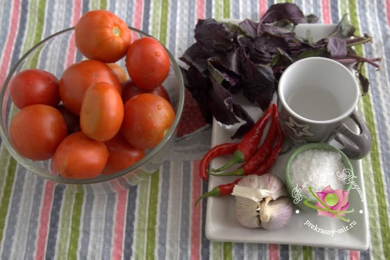 консервированные помидоры с базиликом: продукты