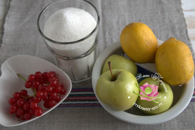 яблочное повидло с калиной и лимоном рецепт