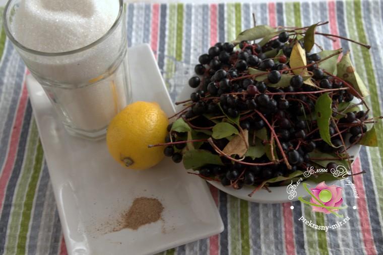 варенье из черемухи с лимоном и корицей: продукты для приготовления