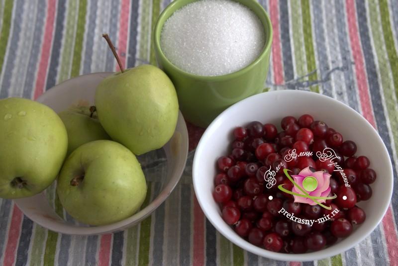 яблочное пюре с клюквой на зиму