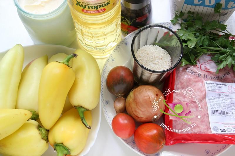 фаршированный болгарский перец: продукты