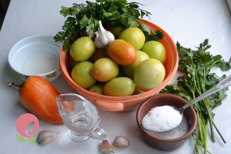 маринованный салат из зеленых помидор