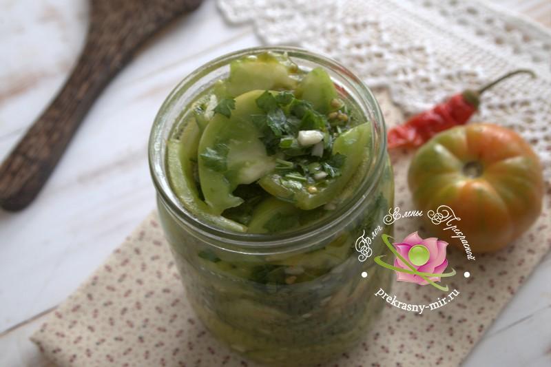 острый сырой салат из зеленых помидоров рецепт в домашних условиях