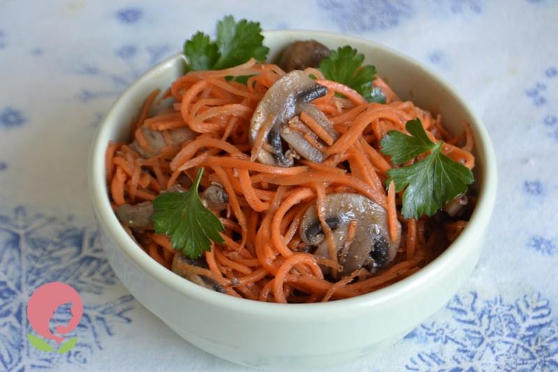 Шампиньоны по-корейски с морковью рецепты