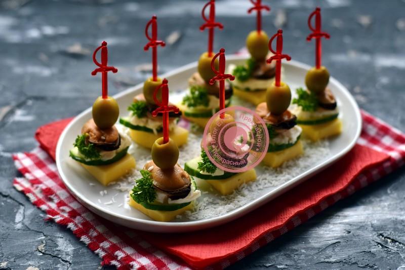 канапе с мидиями и оливками на шпажках рецепт на праздничный стол