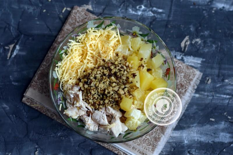 салат с курицей и ананасами рецепт с фото в домашних условиях