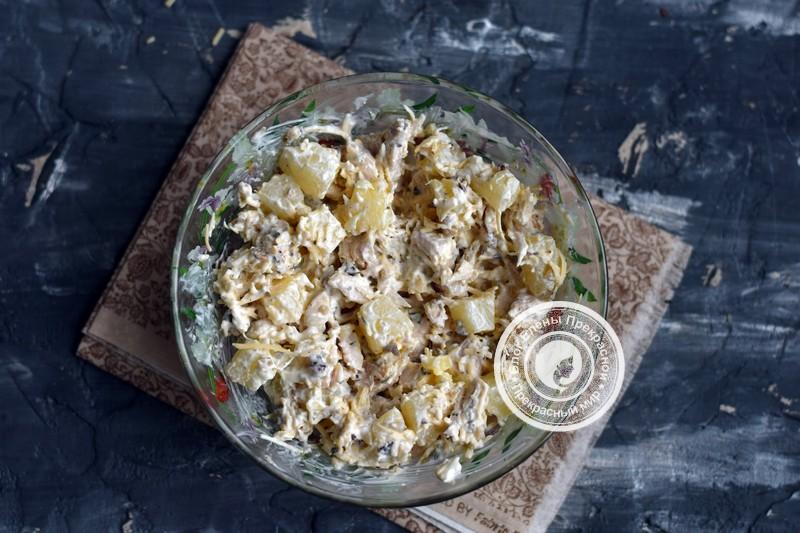 салат с курицей и ананасами рецепт с фото на новый год