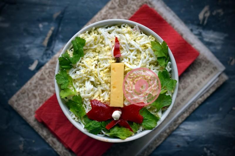 рецепты салатов из яичных блинчиков с фото