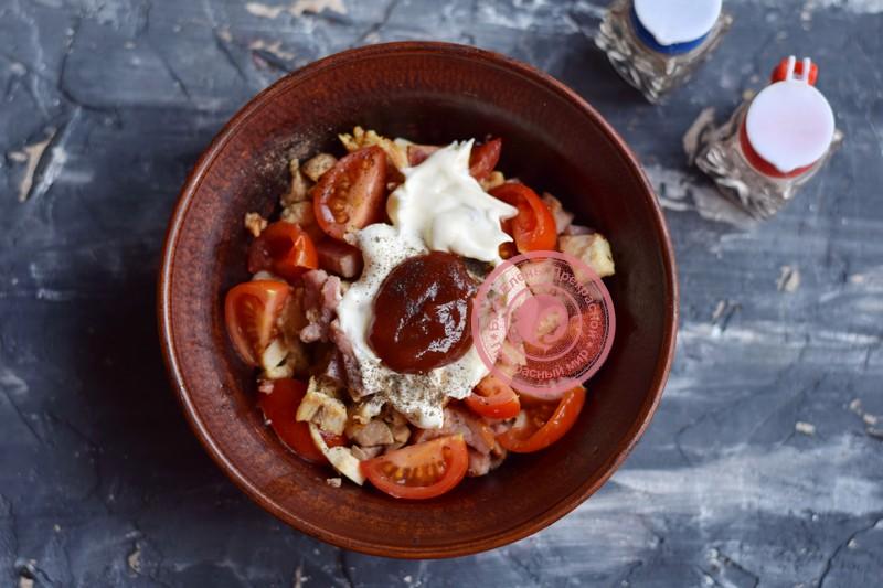 салат Кармен с курицей и ветчиной рецепт в домашних условиях