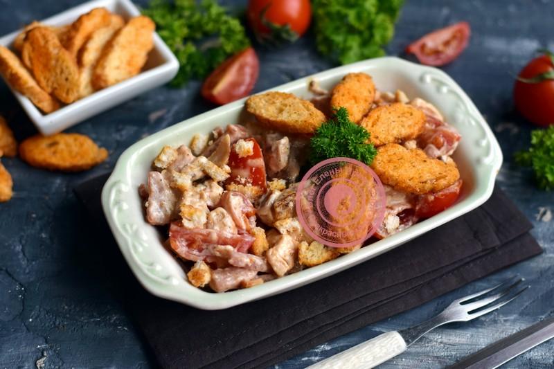 салат Кармен с курицей и ветчиной рецепт на праздничный стол