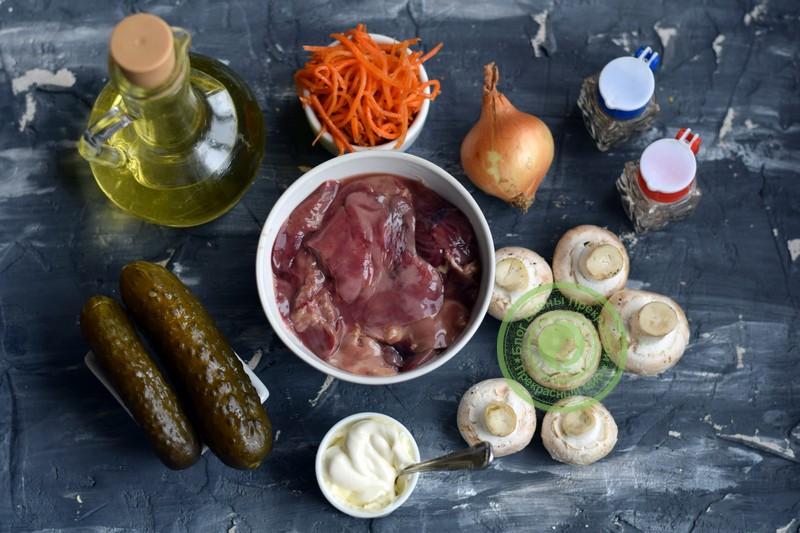 салат с куриной печенью и морковкой