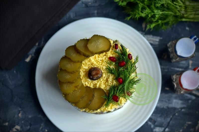 салат с шампиньонами и ветчиной рецепт на праздничный стол