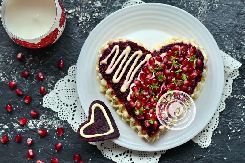 салат гранатовое сердце рецепт на праздничный стол ко Дню святого Валентина
