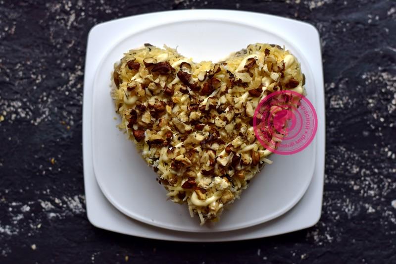 салат с грецкими орехами в виде сердца рецепт на день влюбленных