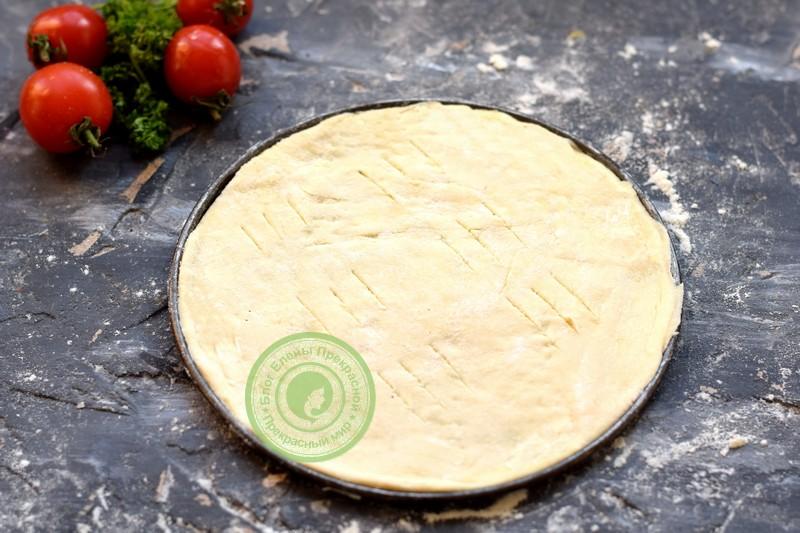 Овощная пицца с грибами и моцареллой рецепт
