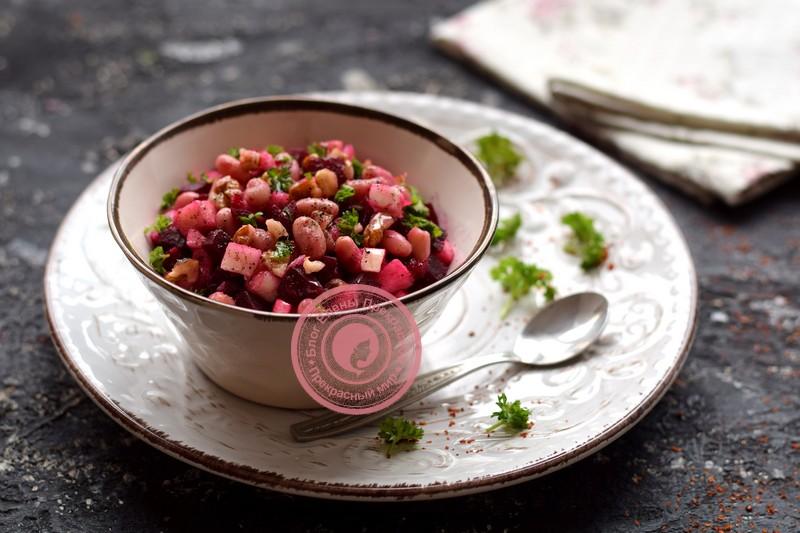 постный салат с фасолью рецепт в домашних условиях