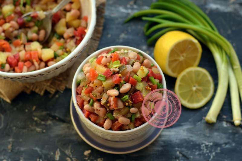 Салат с консервированной фасолью на праздничный стол: рецепт в домашних условиях