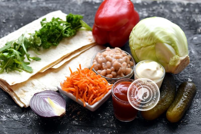 Постная шаурма с овощами и фасолью