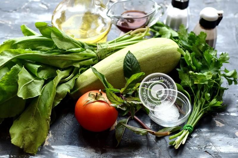 Салат из щавеля, кабачков и помидоров
