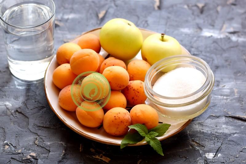 Свежий абрикосовый компот с яблоками - рецепт пошаговый с фото