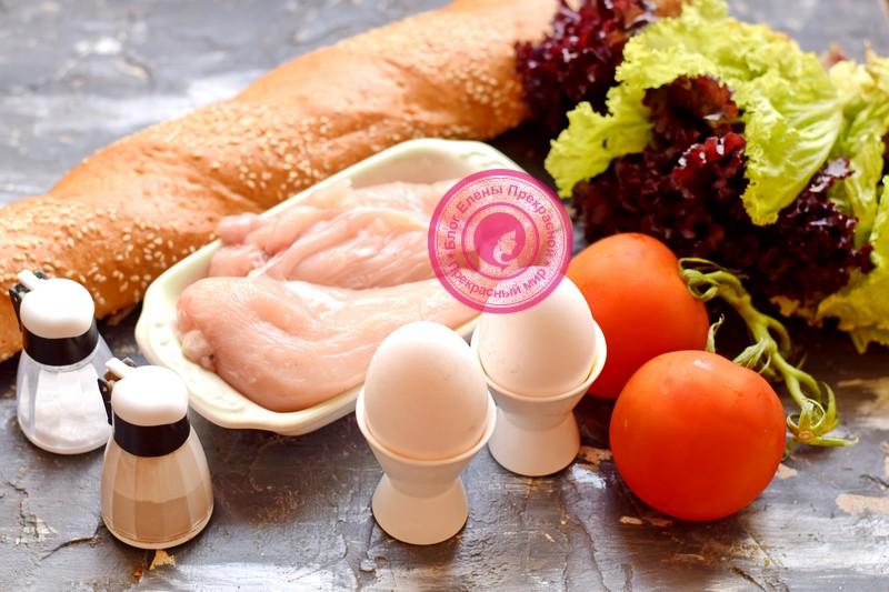 бутерброды с курицей, яйцом и помидорами