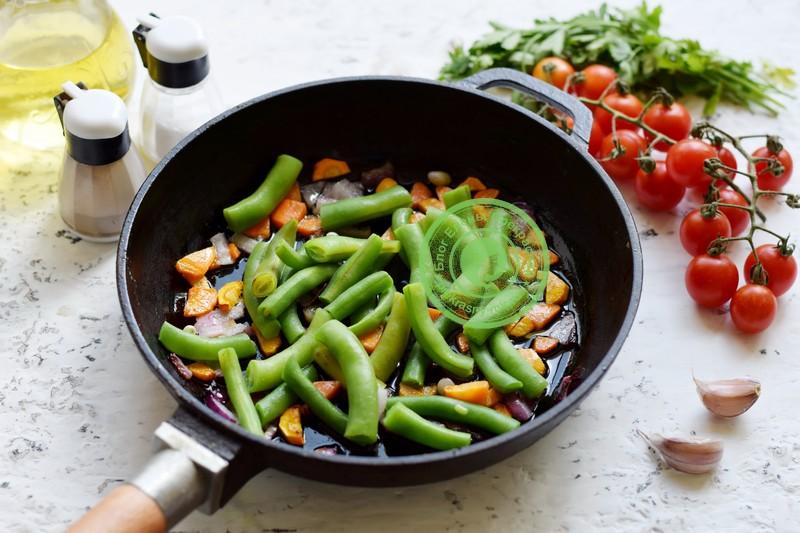 кабачки со спаржевой фасолью рецепт с фото
