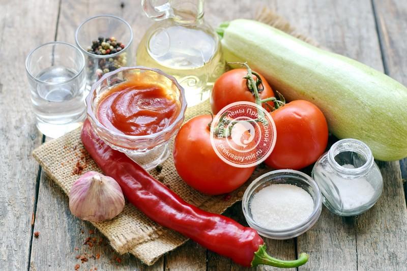 острые кабачки в томатном соусе на зиму