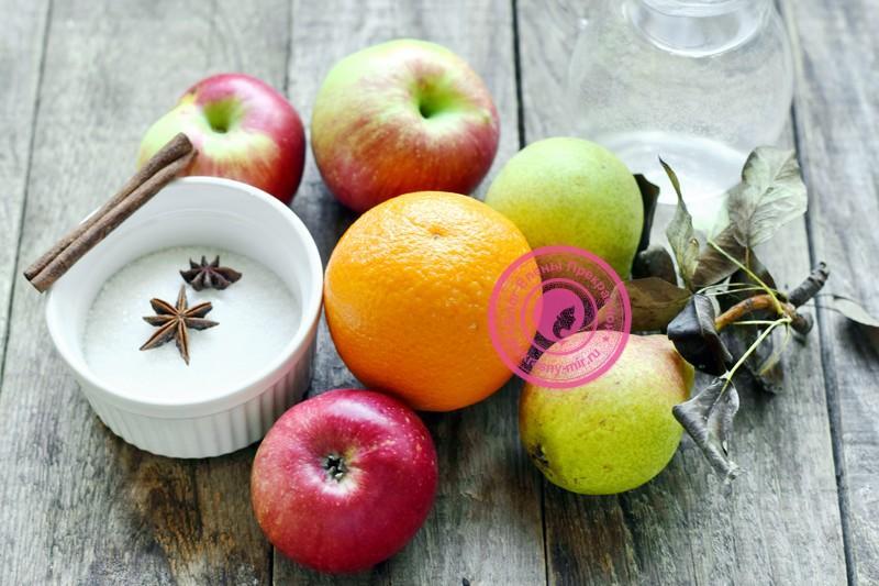 яблочный компот с апельсином на зиму
