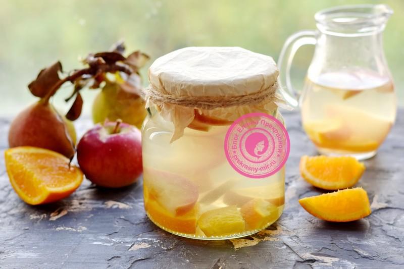 яблочный компот с апельсином на зиму рецепт в домашних условиях