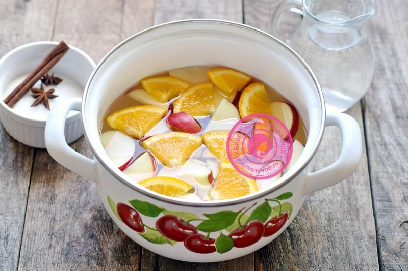 яблочный компот с апельсином на зиму рецепт пошагово