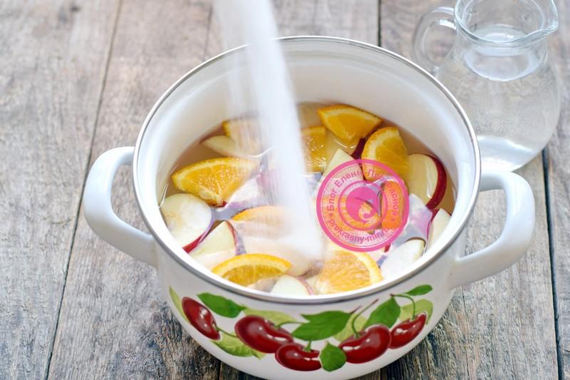 яблочный компот с апельсином на зиму рецепт