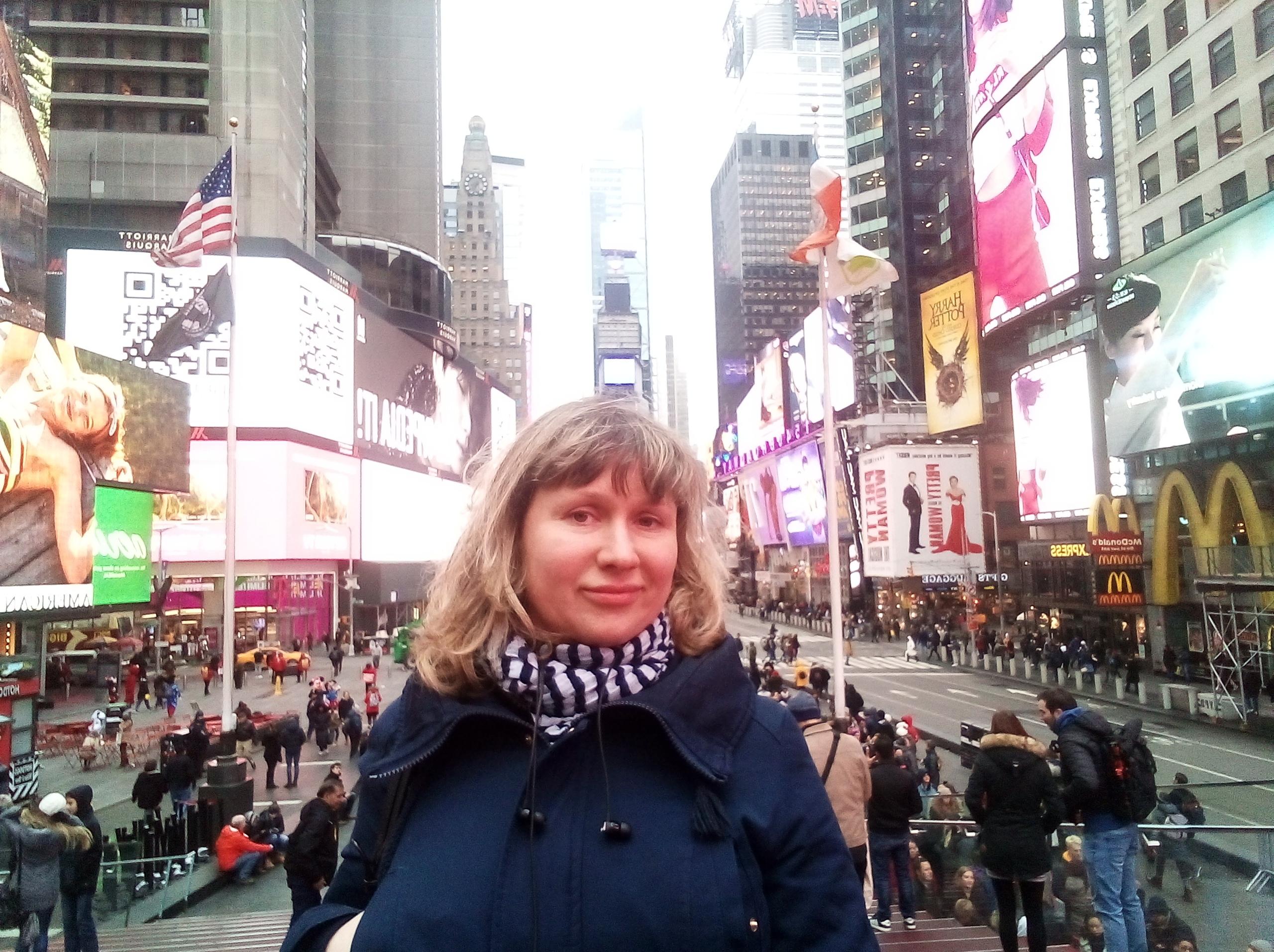 В Нью-Йорке на Таймс сквер
