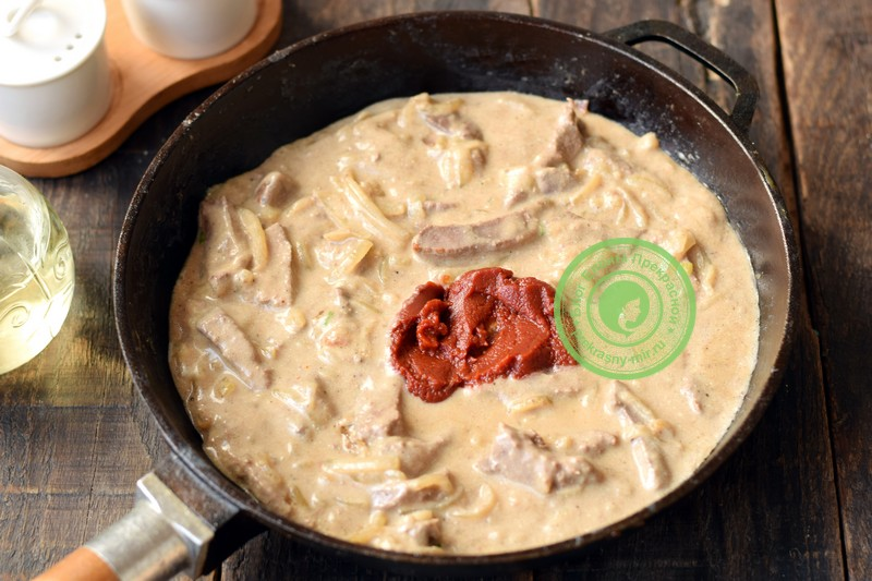 бефстроганов из свиной печени рецепт с фото